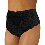 Wearever Women's Lovely Lace Trim Panty, XL, Black