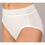 Wearever Women's Lace Trim Cotton Incontinence Panty, Large, White
