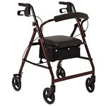 Medline Basic Rollator, Red- 1 ea