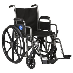 Medline Steel Wheelchair with Swingaway Footrests, Silver