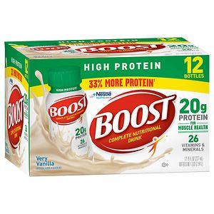 Boost High Protein Complete Nutritional Drink, Very Vanilla, 8 oz Bottles, 12 pk, 8 oz