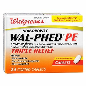 Walgreens Wal-Phed PE Triple Relief Pain Reliever Caplets- 24 ea