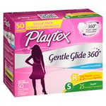 Playtex Gentle Glide Tampons, Unscented Multipack, 25 Regular &
