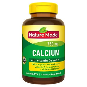 Nature Made Calcium 750 mg + D + K Dietary Supplement Tablets, 49, 100 Each