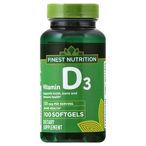 Finest Nutrition D3 Vitamin 5000 IU Dietary Supplement Softgels, 100 Each