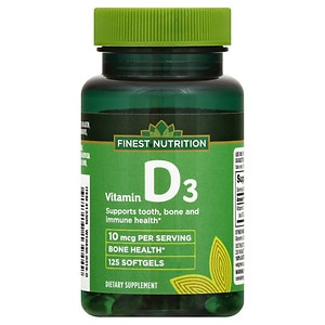 Finest Nutrition D3 Vitamin 400 IU Dietary Supplement Softgels- 125 ea