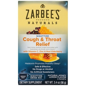 ZarBee's Naturals Cough & Throat Relief Nighttime Drink Packets, Honey Lemon