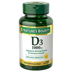 Nature's Bounty D-1000 IU Dietary Supplement Rapid Release Liquid Softgels, 350 Each