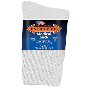 Extra Wide Medical Socks Womens, Shoe Sizes 6-11 Wide, White