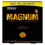 Trojan Magnum Lubricated Latex Condoms, Large Size