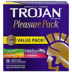 Trojan Lubricated Latex Condoms, Pleasure Pack- 36 ea
