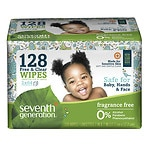 Seventh Generation Thick n' Strong Baby Wipes Refill, Free & Clear- 128 ea