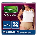 Depend Silhouette Incontinence Briefs for Women, Maximum Absorbency, Soft Peach, Large/Extra Large- 52 ea