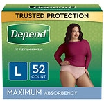 Depend For Women Underwear, Maximum Absorbency, L - 52 Pack