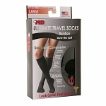 +MD Ultimate Travel Over the Calf Bamboo Compression Socks, Black, Large- 1 pr