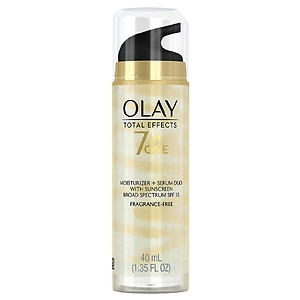 Olay Total Effects Face Moisturizer Plus Serum Duo with Sunscreen, Fragrance Free- 1.35 fl oz