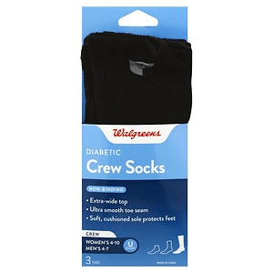 Walgreens Diabetic Crew Socks for Women, Black, 6-10