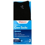 Walgreens Diabetic Crew Socks for Men, Black, Sizes 7-12