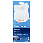 Walgreens Diabetic Crew Socks for Women, White, Sizes 6-10