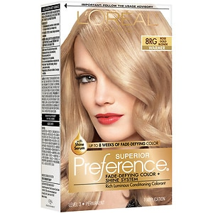 L'Oreal Paris Superior Preference Fade Defying Color & Shine System, Permanent, Rose Gold Blonde (8RG), 1 ea