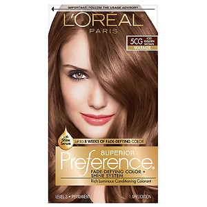L'Oreal Paris Superior Preference Fade Defying Color & Shine System, Permanent, Iced Golden Brown (5CG), 1 ea