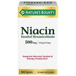 Nature's Bounty Flush Free Niacin, Inositol Hexanicotinate, 500mg, Capsules- 50 ea