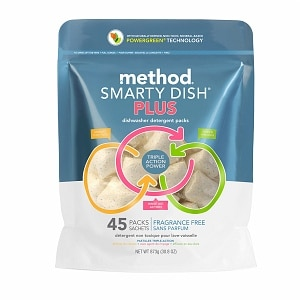 method Smarty Dish Plus Dishwasher Detergent Packets, 45 Loads, Fragrance Free- 45 Each