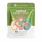 method Smarty Dish Plus Dishwasher Detergent Packets, 45 Loads, Lemon Mint- 45 Each