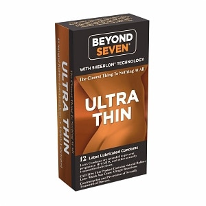 Beyond Seven Sheerlon Natural Rubber Latex Condoms, Lightly Lubricated- 12 ea