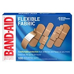 Band-Aid Flex Fabric Bandages, Assorted- 100 ea