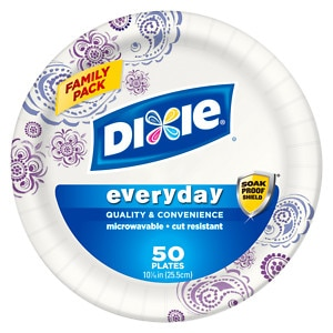 """Dixie Plates, 10 1/16"""", Family Pack, 50 ea (042000510509)"""