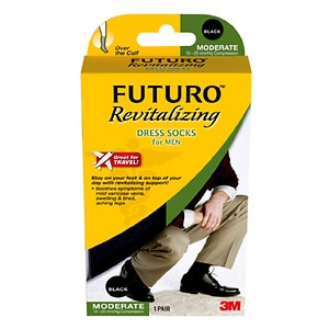 FUTURO Revitalizing Dress Socks for Men, Model 71038EN, Black, Medium