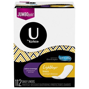 U by Kotex Lightdays Pantiliners, Extra Coverage, Unscented, Long, 112 ea