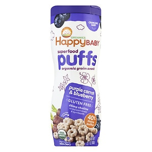 Happy Puffs Organic Puffs Finger Food for Babies, Purple Carrot and Blueberry, 2.1 oz
