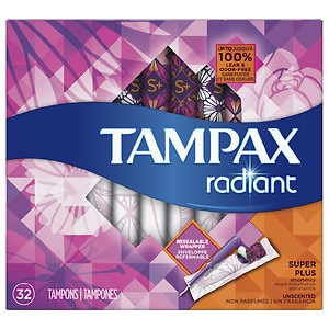 Tampax Radiant Tampons, Unscented, Super Plus