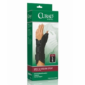 Curad Wrist & Forearm Splint with Abducted Thumb-Left, X-Small, Black- 1 ea