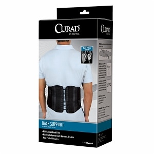 Curad Back Support with Dual-Pulley System, 2XL, Black- 1 ea
