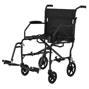 Medline Freedom Ultra-Lightweight Transport Chair, Black, 19 x 16 inch