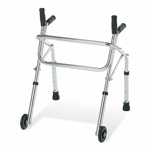 Medline Children's no-fold Walker with Wheels, Silver