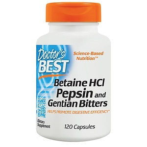 Doctor's Best Betaine HCl Pepsin & Gentian Bitters, Capsules- 120 ea