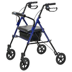 Lumex Set & Go Wide Height Adjustable Rollator, Blue