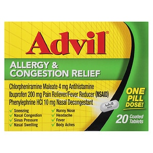 Advil Allergy & Congestion Relief Coated Tablets, 20 ea