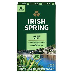 Irish Spring Deodorant Soap Bars, Aloe, 6 Bar