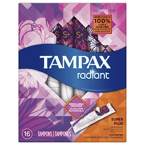 Tampax Radiant Plastic, Tampons, Unscented, Super Plus