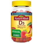 Nature Made Vitamin D3 Adult Gummies, Strawberry, Peach, and