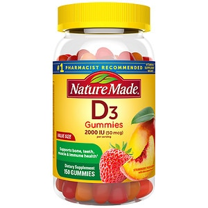 Nature Made Vitamin D3 Adult Gummies, Strawberry, Peach, and Mango, 150 ea