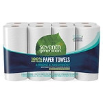 Seventh Generation White Paper Towels, Right Sized, 2 ply, 8 pk