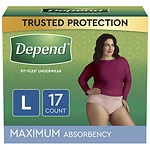Depend Incontinence Underwear for Women, Maximum Absorbency, Soft Peach, Large- 17 ea