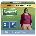 Depend Inconteinence Underwear for Women, Maximum Absorbency,