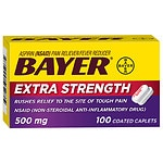 Bayer Extra Strength Aspirin 500 mg Coated Caplets- 100 ea